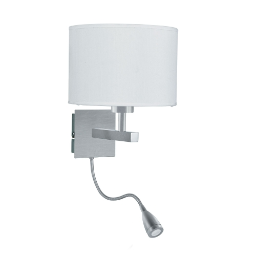Searchlight Satin Silver Wall Light With White Shade Incorporating Led Flexi-arm