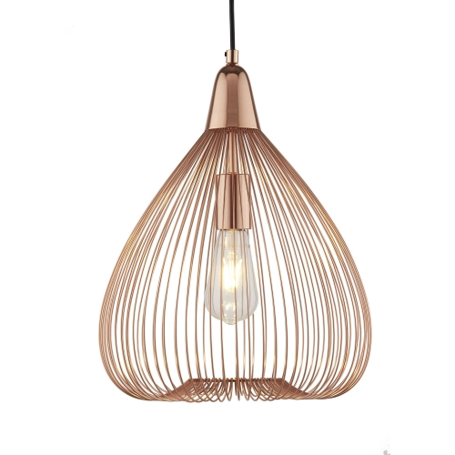 Searchlight 1 Light Wire Cage Pendant, Copper