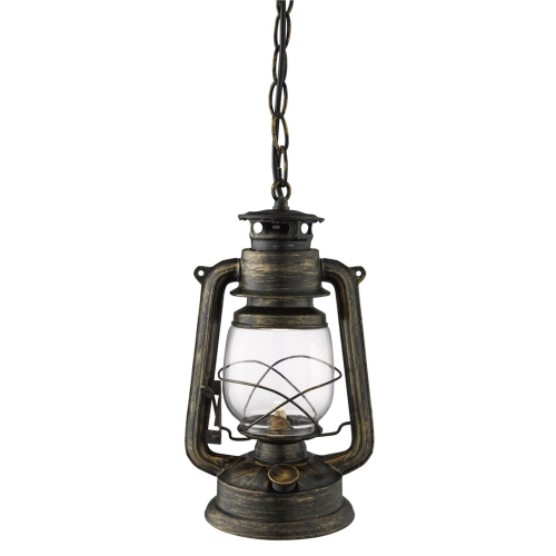 Searchlight Hurricane Lantern Pendant Light In Black Gold With White Glass