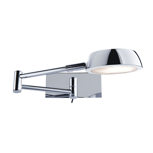 Searchlight Double Swing-arm Chrome Adjustable Wall Light, Switched