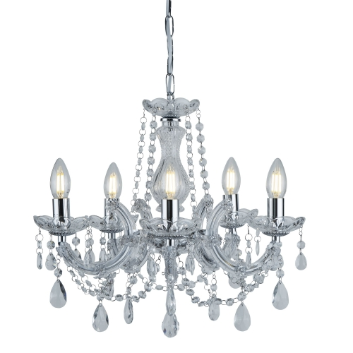 Searchlight Marie Therese Chrome 5 Light Chandelier With Crystal Drops SALE ITEM