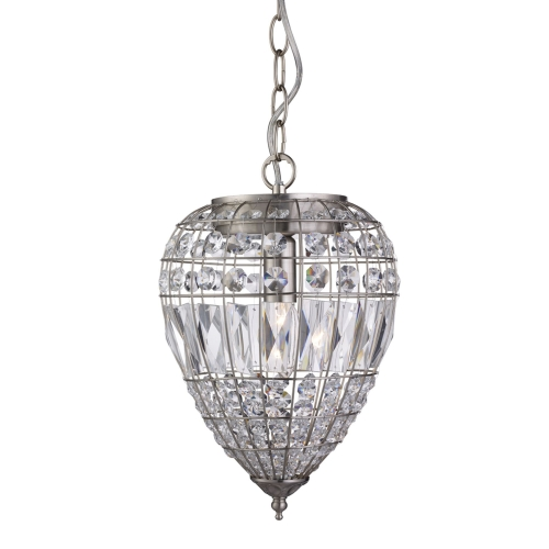 Searchlight Satin Silver Pendant Light With Crystal Glass Buttons SALE