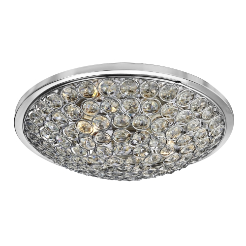 Searchlight Orion Chrome 3 Light Semi Flush Fitting With Clear Crystal Buttons SALE ITEM