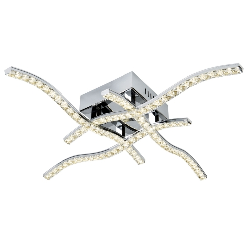 Searchlight 4 Arm Led Chrome Ceiling Flush, With Clear Crystal Trim