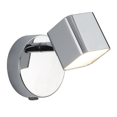 Searchlight 1 Light Led Square Head Spot Wall Bracket, Chrome