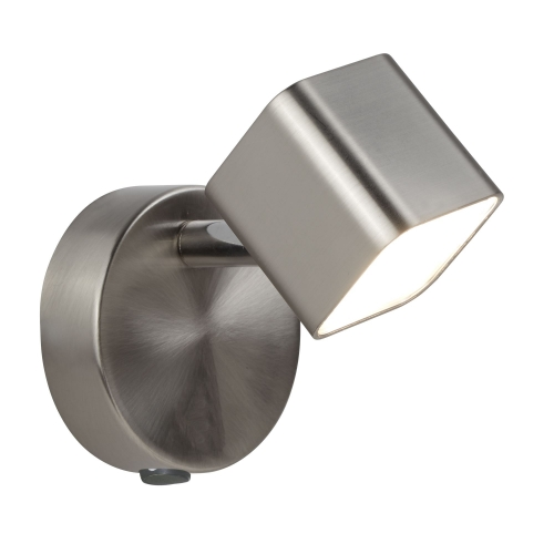 Searchlight 1 Light Led Square Head Spot Wall Bracket, Satin Silver