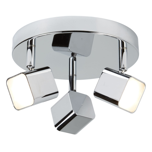 Searchlight 3 Light Led Square Head Spot Plate, Chrome