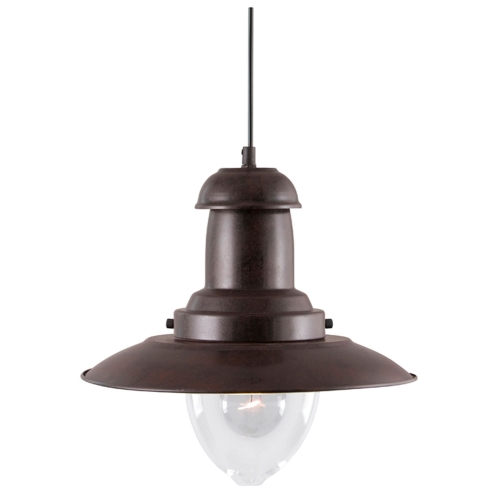 Searchlight Fisherman Rustic Brown Light With Clear Glass Shade