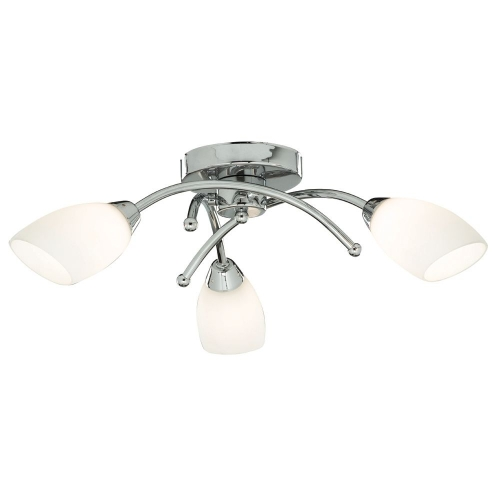 Searchlight Led Ip44 Chrome 3 Light Ceiling Fitting, White Glass Shades SALE ITEM