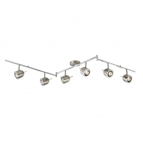 Searchlight Palmer Satin Silver 6 Light Adjustable Bar Spotlight With Chrome Trim
