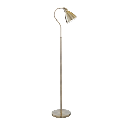 Searchlight Adjustable Antique Brass Floor Lamp With Matching Metal Head