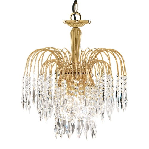 Searchlight Waterfall Gold 3 Light Fitting With Crystal Buttons & Drops