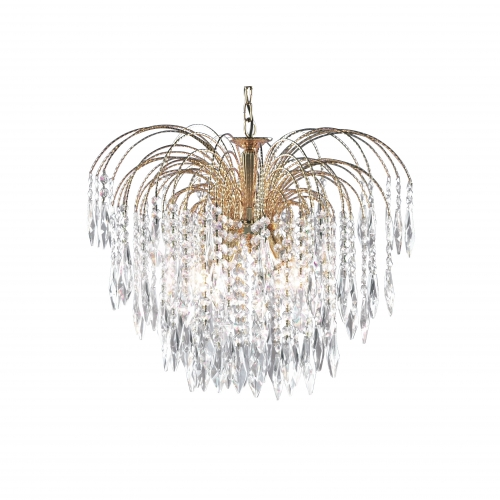 Searchlight Waterfall Gold 5 Light Pendant Fitting With Crystal Buttons & Drops