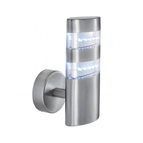 Searchlight Stainless Steel Ip44 24 Led Outdoor Wall Light With Clear Polycarbonate Diffuser