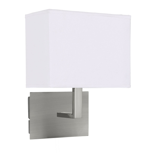 Searchlight Satin Silver Wall Light With White Rectangular Fabric Shade, Black Switch