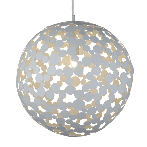 Searchlight 1 Light Large Pendant (50cm Dia), Sand White Metal