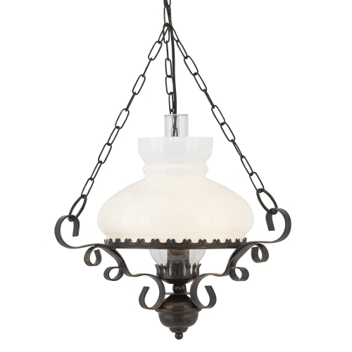 Searchlight Rustic Wrought Iron Oil Lantern With Opal Glass Diffuser