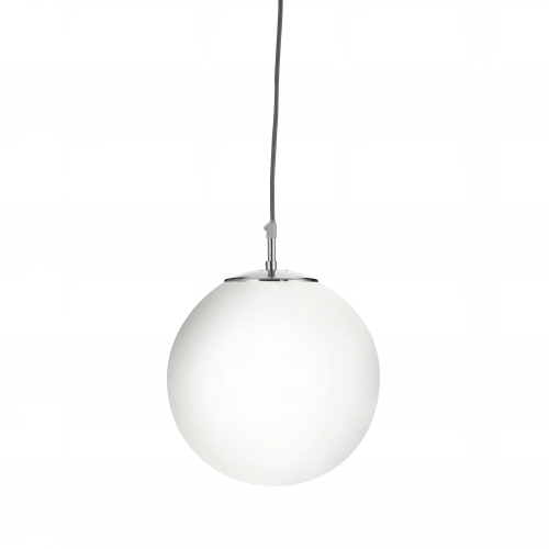 Searchlight Atom Satin Silver Pendant Light With Opal Glass Sphere