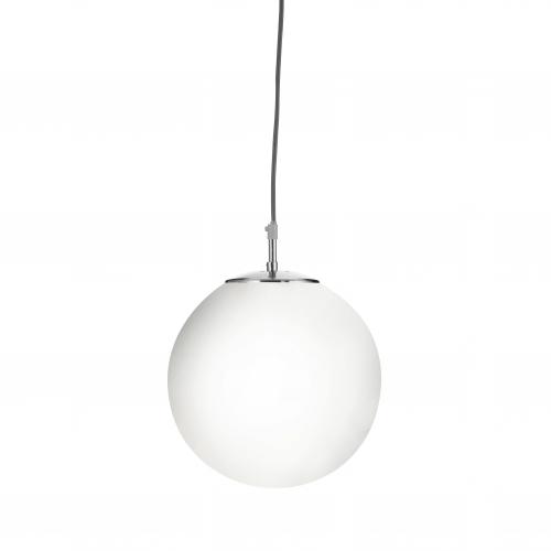 Searchlight Atom Satin Silver Pendant Light Withopal Glass Sphere