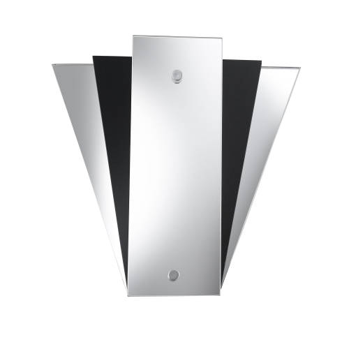 Searchlight Fan Style Mirror Wall Light With Mirror & Black Glass Back Panels