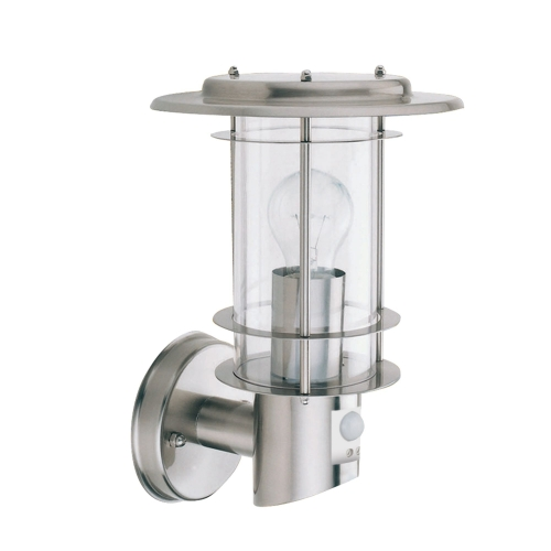 Searchlight Stainless Steel Ip44 Outdoor Light Motion Sensor, Clear Polycarbonate Shade