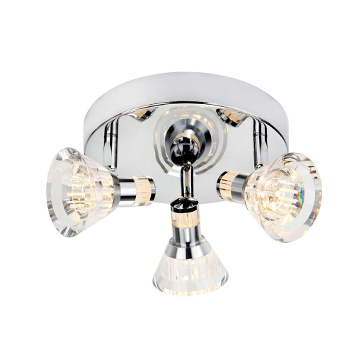 Searchlight Chrome, Ip44 Dimmable 3 Light Led Spot Round Plate, Clear Acrylic Shade