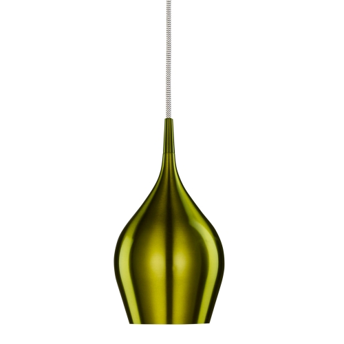 Searchlight Vibrant Anodised Aluminium, Green Bell Pendant, Braided Cable, Adjustable