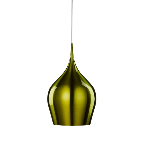 Searchlight Vibrant Anodised Aluminium, Large Green Bell Pendant, Braided Cable, Adjustable