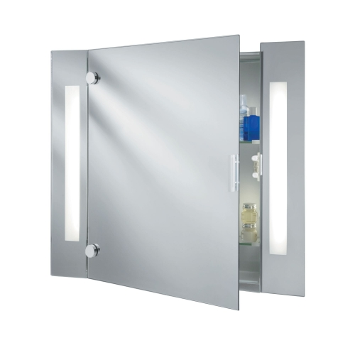 Searchlight Illuminated Bathroom Mirror Cabinet With Shaver Socket, Switched