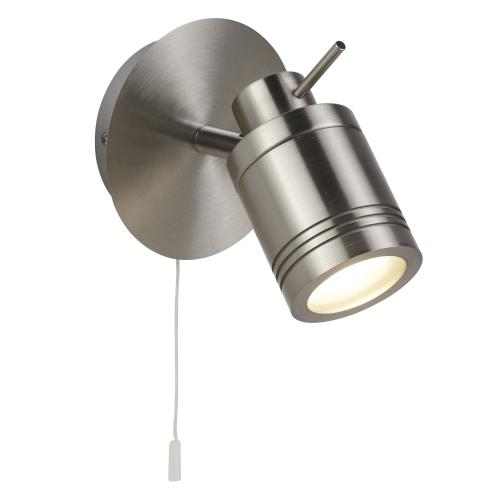 Searchlight Satin Silver, Ip44 Bathroom Spot Wall Bracket, Switched, Adjustable Head