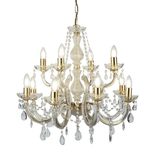 Searchlight Marie Therese Polished Brass 12 Light Chandelier With Crystal Drops