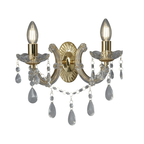 Searchlight Marie Therese Polished Brass 2 Light Wall Bracket With Crystal Drops SALE ITEM