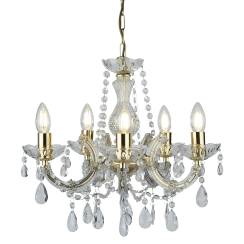 Searchlight Marie Therese Polished Brass 5 Light Chandelier With Crystal Drops SALE ITEM