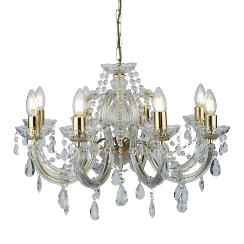 Searchlight Marie Therese Polished Brass 8 Light Chandelier With Crystal Drops