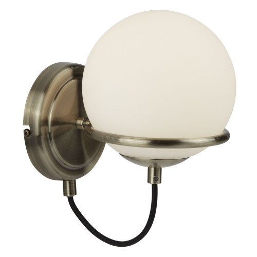 Searchlight 1 Light Wall Bracket, Antique Brass, Black Braided Cable, Opal White Glass Shade