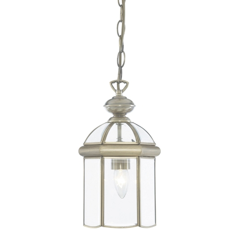 Searchlight Antique Brass Domed Lantern With Bevelled Glass Panels, Adjustable