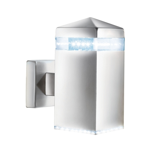 Searchlight Stainless Steel Ip44 Led Outdoor Wall Light With Clear Diffuser