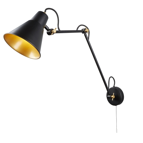 Searchlight 1 Light Adjustable Wall Bracket, Matt Black, Gold