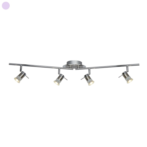 Searchlight Aries Led Ip44 Chrome & Satin Silver 4 Light Adjustable Bar Spotlight