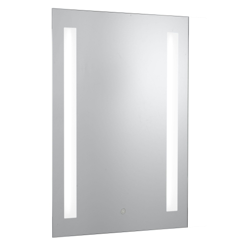 Searchlight 2 Light Oblong Bathroom Mirror, Shaver Socket, Blue Switched