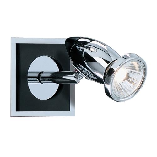 Searchlight Comet Aluminium Chrome Black Spotlight Wall Bracket, Switched, Adjustable Head