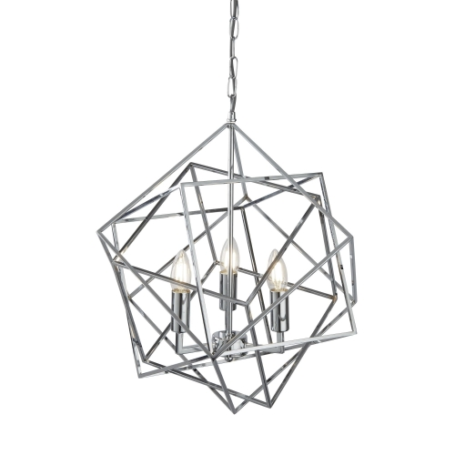 Searchlight 3 Light Pendant, Geometric Cube Frame, Chrome