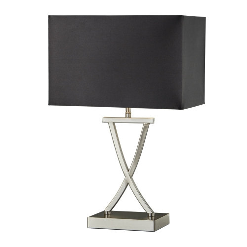 Searchlight Cross Satin Silver Table Lamp With Drum Shade