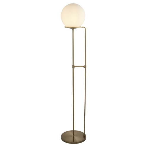 Searchlight 1 Light Floor Lamp, Antique Brass, Opal White Glass Shade