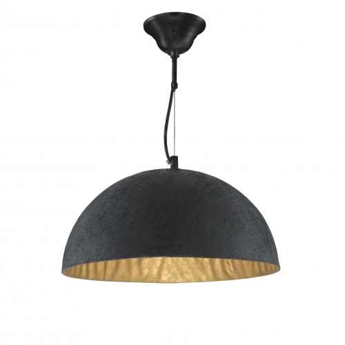 Searchlight Metal Dome Pendant Light With Gold Inner, Adjustable