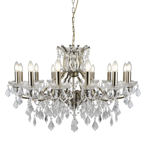 Searchlight 12 Light Chandelier, Clear Crystal Drops & Trim, Antique Brass