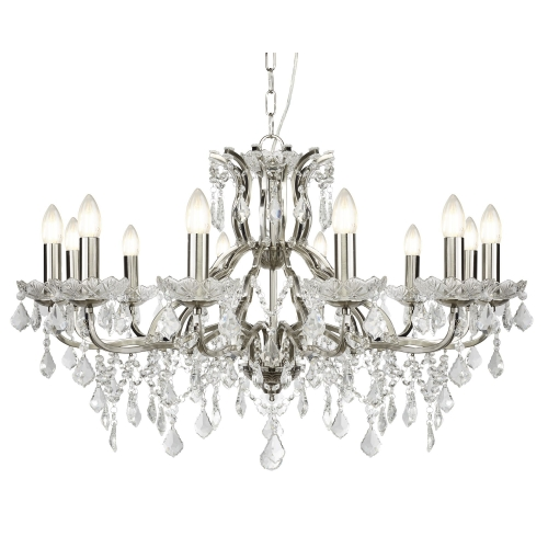 Searchlight 12 Light Chandelier, Clear Crystal Drops & Trim, Satin Silver