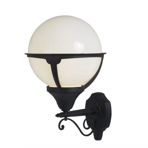 Searchlight Orb Lantern Outdoor 1 Light Wall Light, Black/round Opal Shade