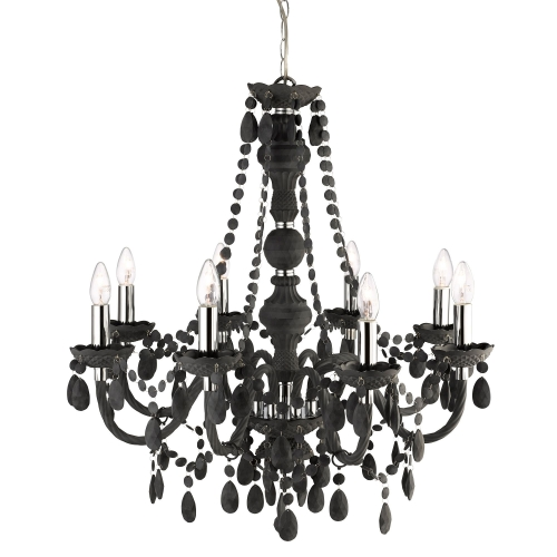 Searchlight Marie Therese Frosted 8 Light Chandelier With Crystal Drops