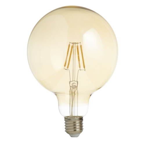 Searchlight Pack X 5 - Led Filament Globe Lamp (125mm) Amber Glass, E27 6w, 600lm